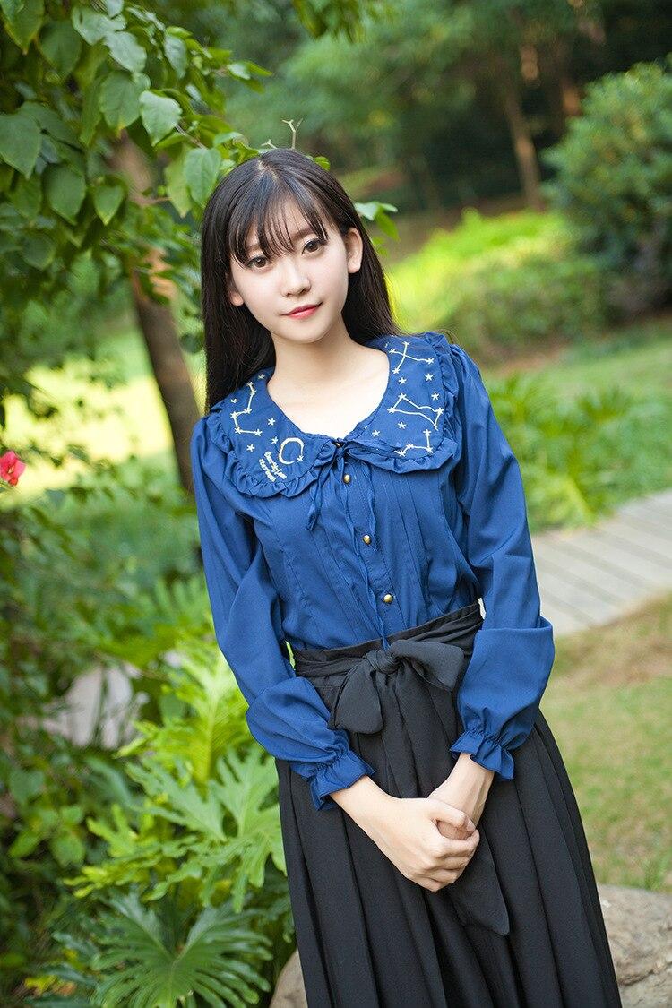 Princesse douce lolita blouse poupée led étoile broderie veste femme longue en mousseline de soie chemise YWW014