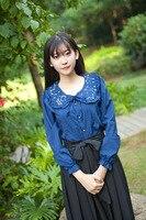 Prinzessin sweet lolita bluse Puppe führte sterne stickerei jacke weibliche lange chiffon-hemd YWW014