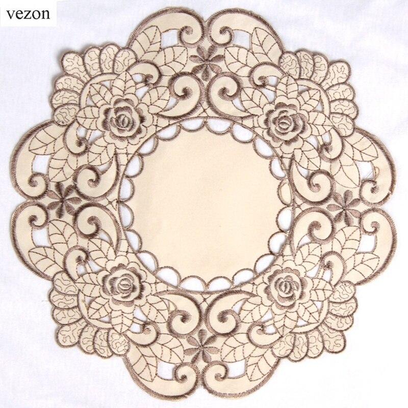 Vezon горячий Круглый элегантный полиэстер цветочный сплошной цвет коврик с вышивкой нежная скатерть вышитые Чехлы на коробки для салфеток