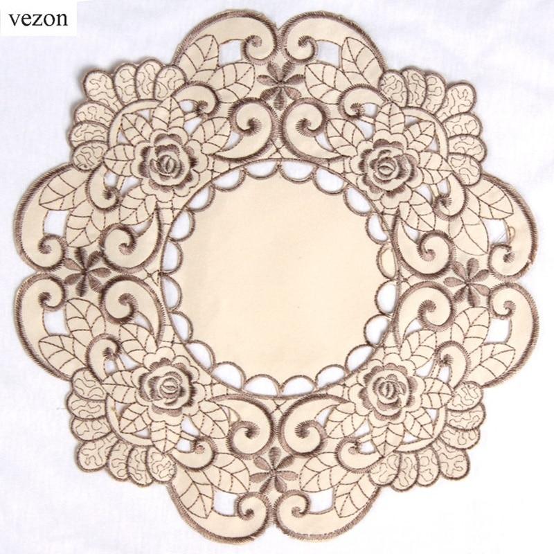 Vezon new hot round elegant polyester floral solid color