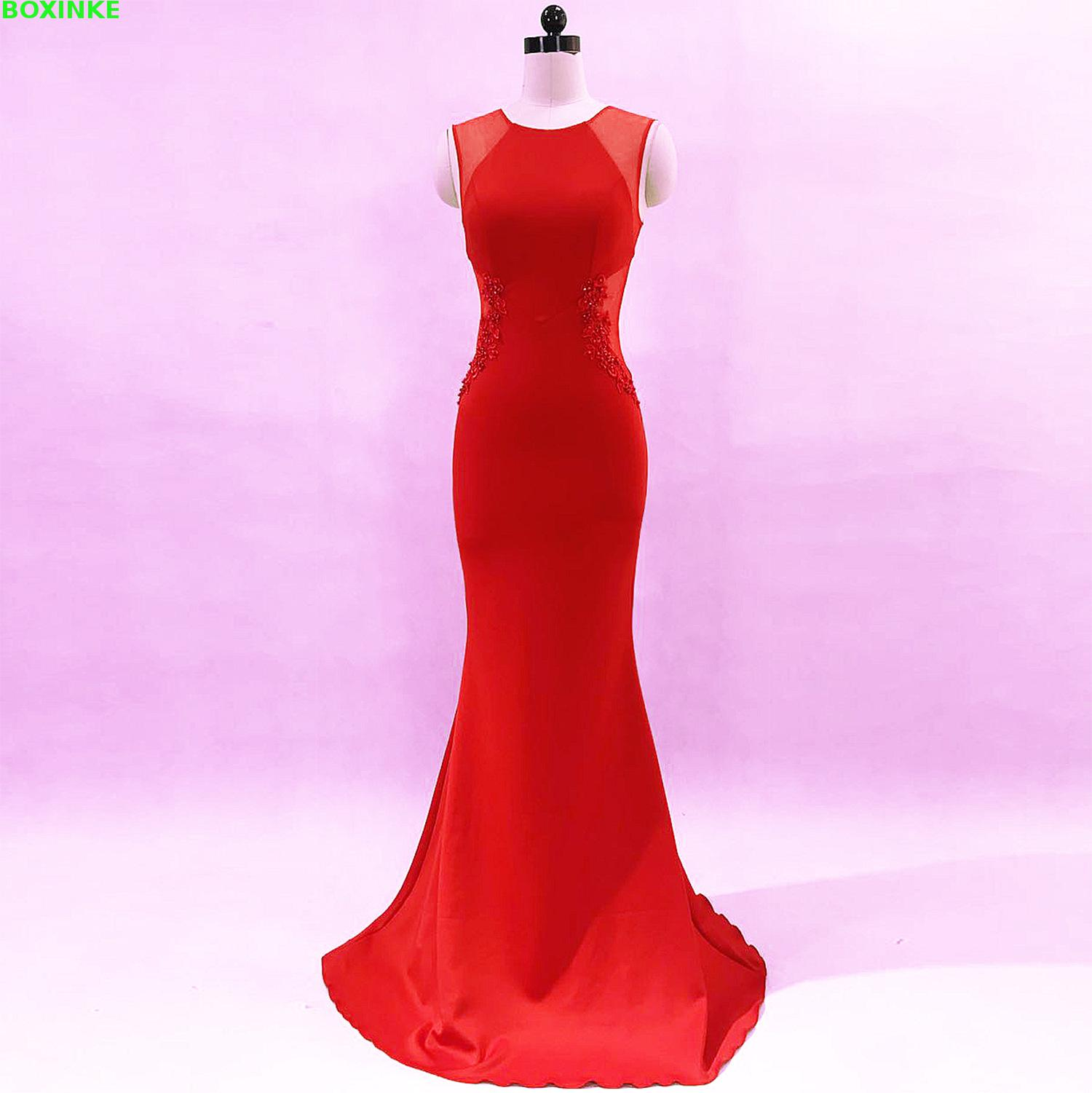 2018 Real New Solid O-neck Lanon Office Dress Vestidos De Fiesta Robe Banquet Host, Grace And Sexy Party Night Shop Long Dress
