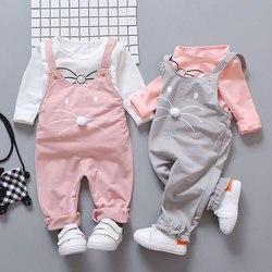 Весенние комплекты одежды для новорожденных девочек; модный костюм; костюм из футболки и штанов; Верхняя одежда для маленьких девочек; Спор...