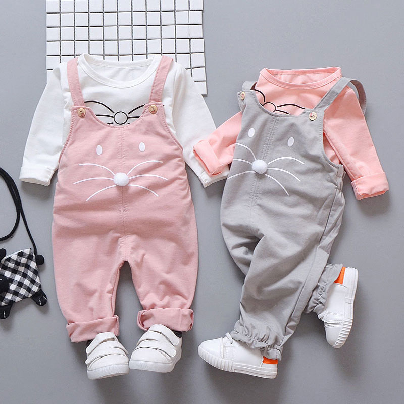 купить Spring newborn baby girls clothes sets fashion suit T-shirt + pants suit baby girls outside wear sports suit clothing sets по цене 598.3 рублей