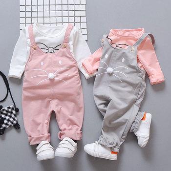 Wiosna noworodka dziewczynki ubrania zestawy moda garnitur T-shirt + spodnie garnitur Baby dziewcząt na zewnątrz nosić stroje sportowe zestawy odzieżowe tanie i dobre opinie Dziecko Sets Regularne Bawełniany poliester O-Neck Herringbone Sweter Baby Girls Poliester bawełna Pełne Płaszcz R-3824-1