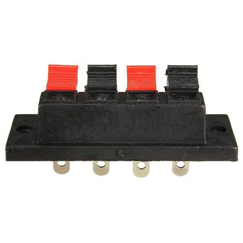 4-Way AMP Stereo Speaker Terminal Plate Strip Push Release Connector Block NEW