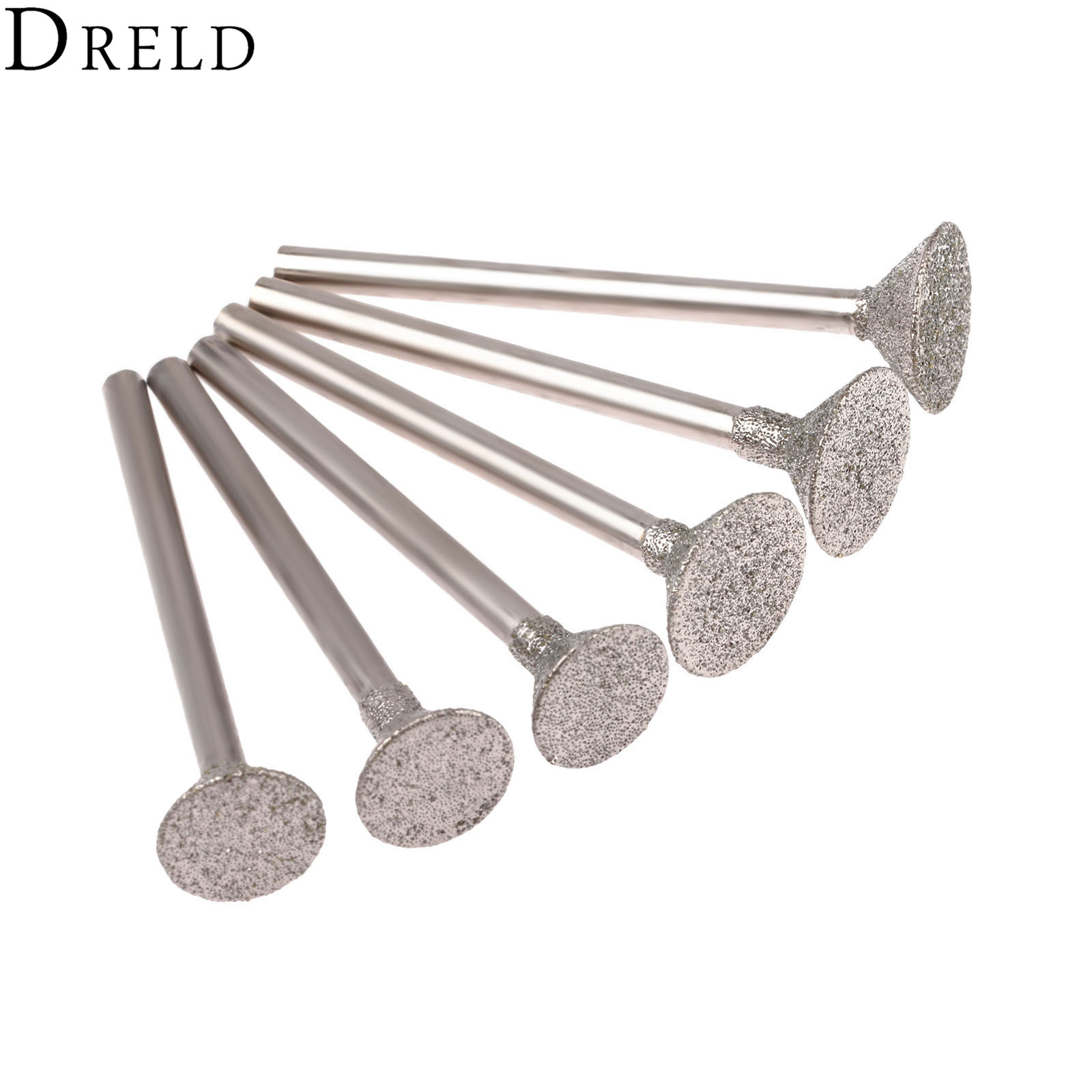 DRELD 6Pcs Dremel Accesories Drill Diamond Grinding Head Burrs Bits 3mm Shank Jade Stone Carving Polishing Engraving Tool