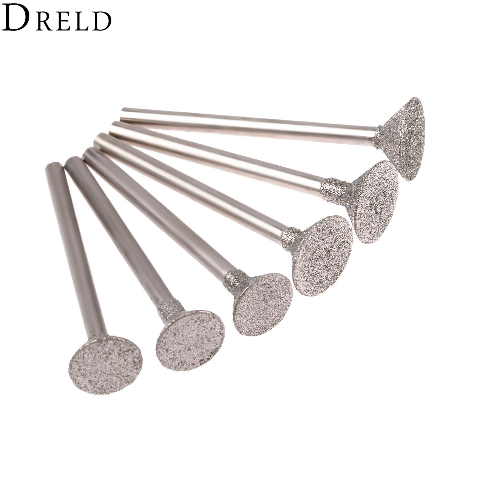 7pcs Diamond Grinding Head Jade Spherical Concave Burrs for Dremel Rotary Tool