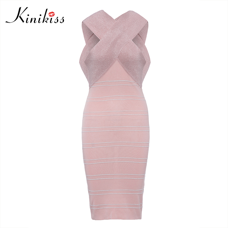 Kinikiss Pink Shining Dress Knitted Striped Bodycon Knit Elegant Dresses Women Sexy Party Club Metall Midi Bandage Dress