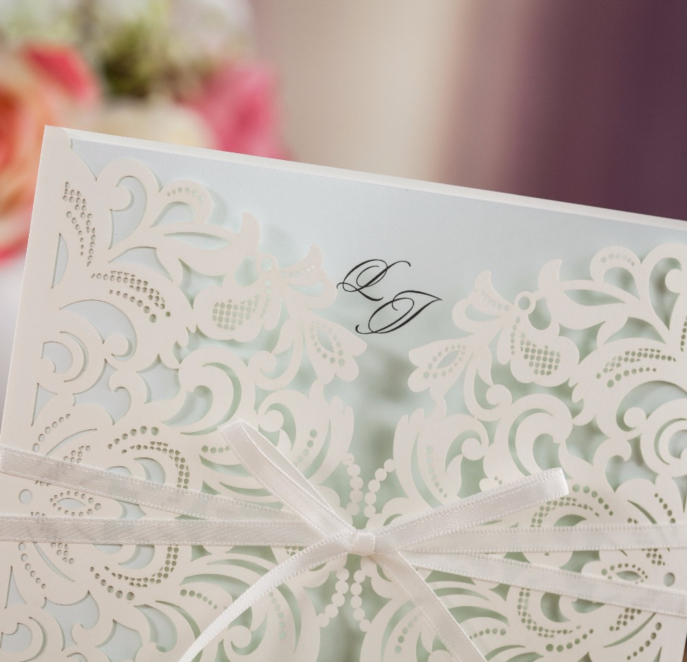 WISHMADE Luxury Lace Laser Cutting Invitation Cards Wedding with ...