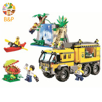 60160 460pcs City Police series Jungle Expedition Team Mobile Lab Building Block Toy For Children Gift 02062