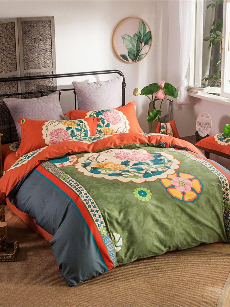 4 Pcs Bedding Set Color Block Lively Flower Print Comfy Cozy Home Bed Product 4 Pcs Bedding Set Color Block Lively Flower Print Comfy Cozy Home Bed Product