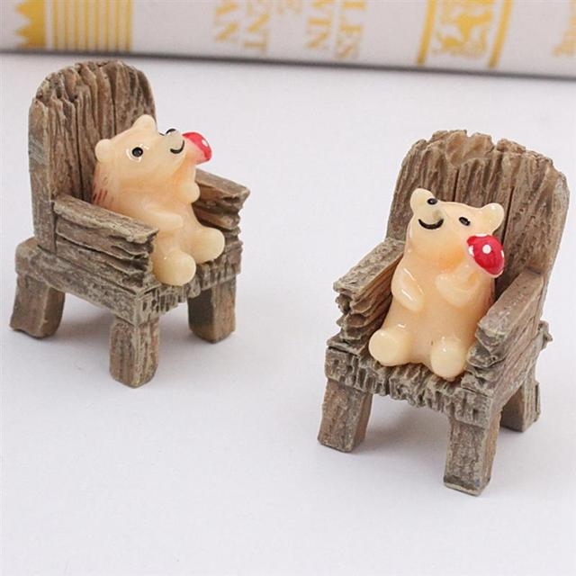 2pcs/Pair Cute Mini Simulated Wooden Chair Ornament Resin Craft Micro Landscape Fairy Garden Miniature Home Garden Decoration 6