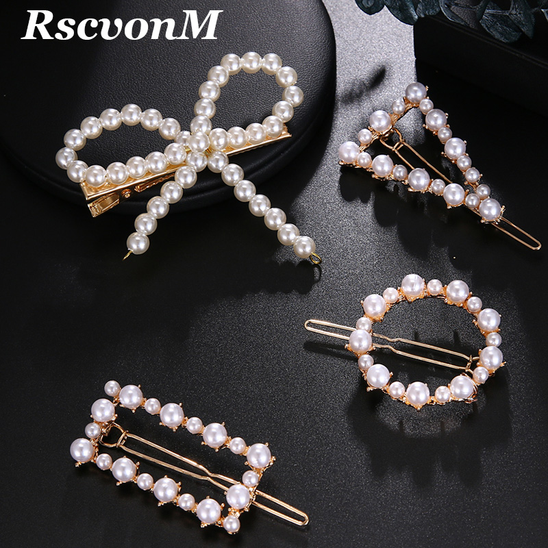 Bride Hair Accessories Faux Pearls Hair Barrettes Clips Glitter Hairpins Pearl Wrapped Geometric Bobby Pin Headdress For Women