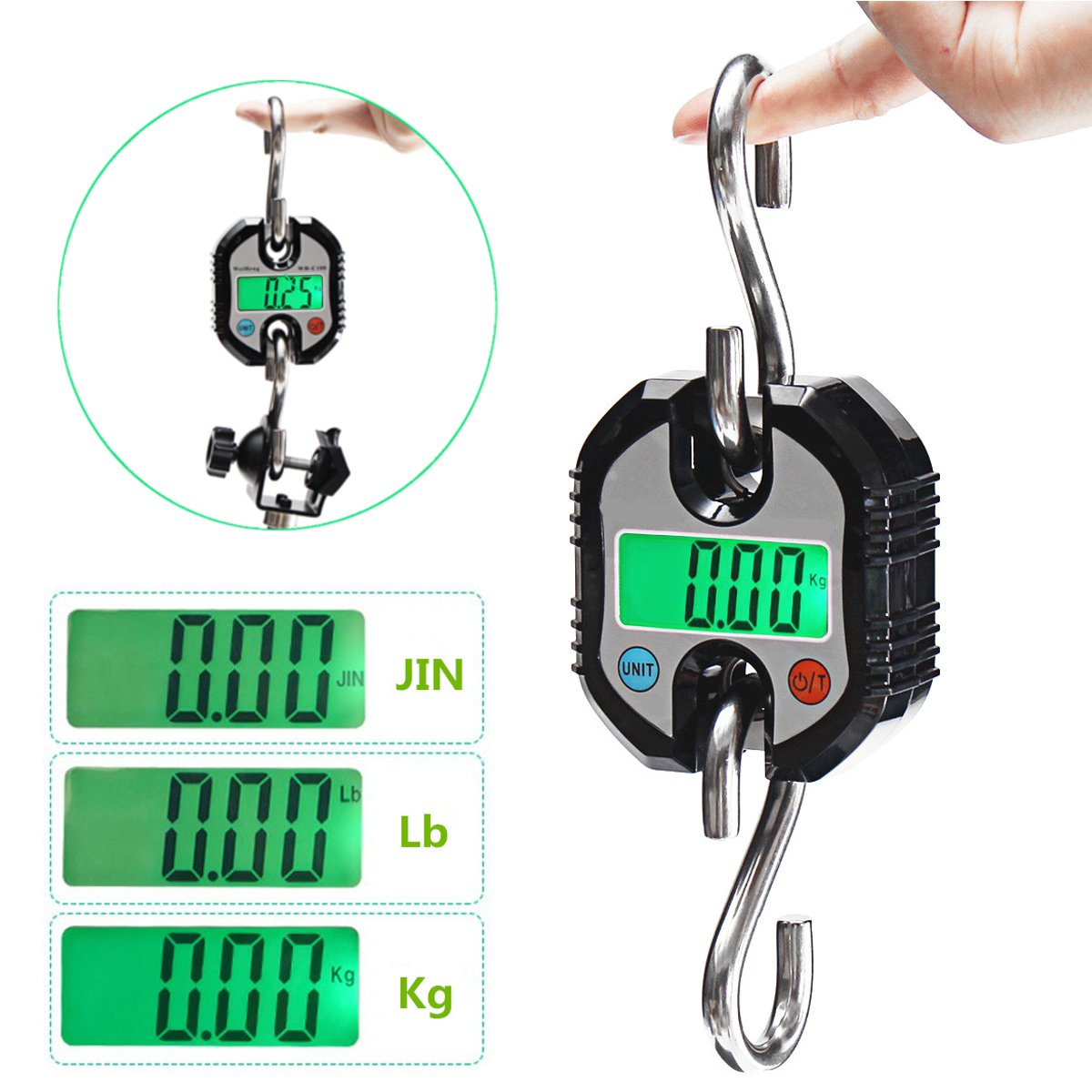 Scale Digital LED Backlight 150Kg/330Lb Hanging Scale Crane Heavy Duty Postal Scale Industrial Shipping With 2 Hooks