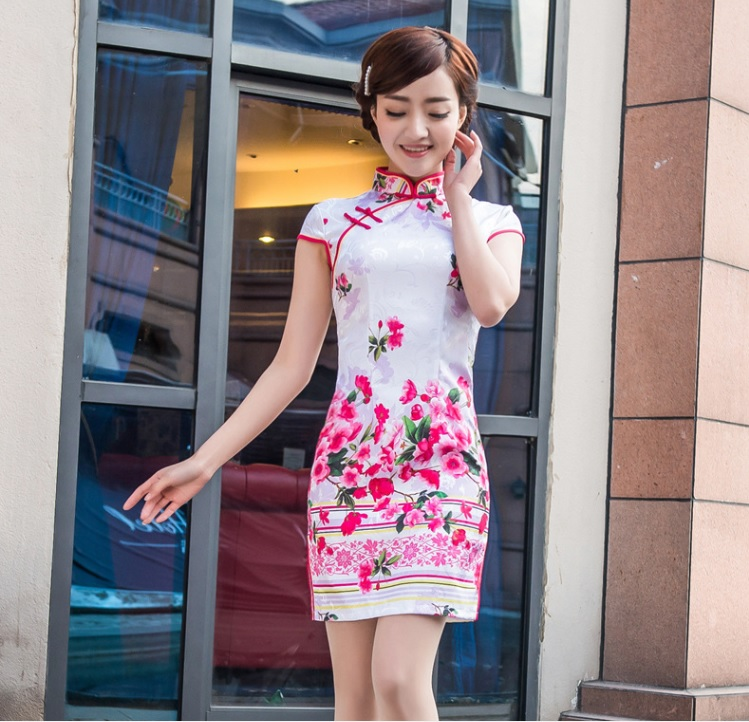 Shanghai Story flower print Qipao Dress traditional chinese clothing  oriental dresses cotton cheongsam dress spandex cheongsam 8b438e456959