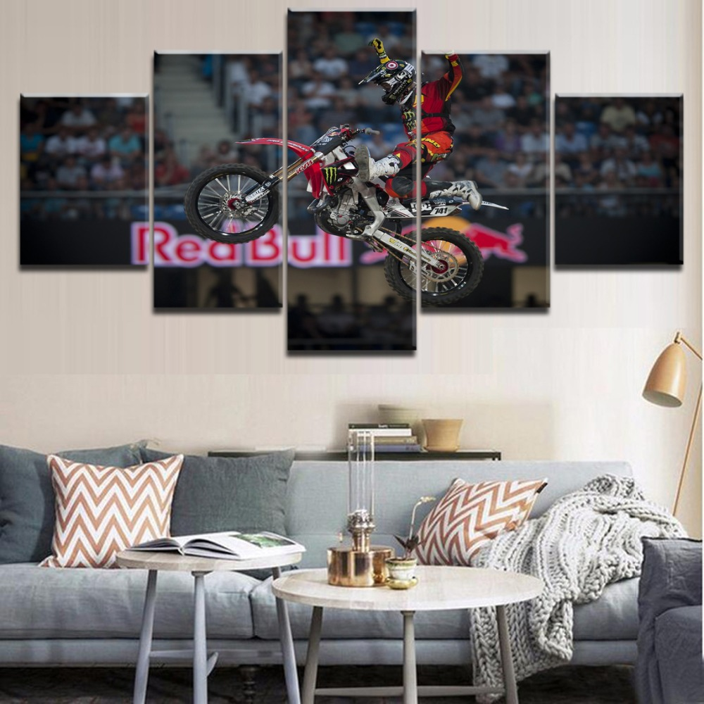 Canvas Printed Painting 5 Panel Sports Motocross Poster Modern Artwork Home Decorative Living Room Or Bedroom Wall Art Picture