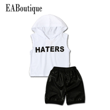 EABoutique New Fashion Rock style Clothing Set kid's boys HATERS letter printed with PU shorts 2 piece set