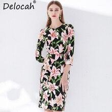 Delocah New Women Spring Summer Dress Runway Fashion Designer 3/4 Sleeve Floral Printed Elegant Vintage Ladies Vacation Dresses