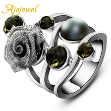 Size 7-9 New Womens Jewellery Vintage Aneis Femininos Pearl And Crystal Flower Ring