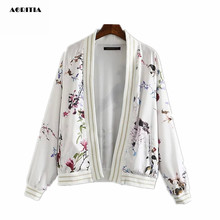 2016 Women Floral Print Bomber Jacket White Long Sleeve Coat Pilots Outerwear Veste