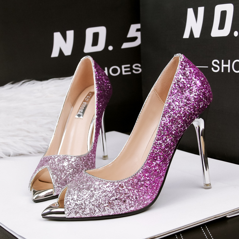 women shoes open toe pumps high heels glitter wedding shoes women ...