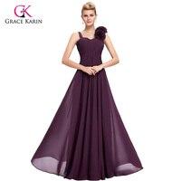 Purple long Evening Dresses Grace Karin elegant Chiffon 2018 New Arrival robe de soiree longue Formal Evening Gowns Party Dress
