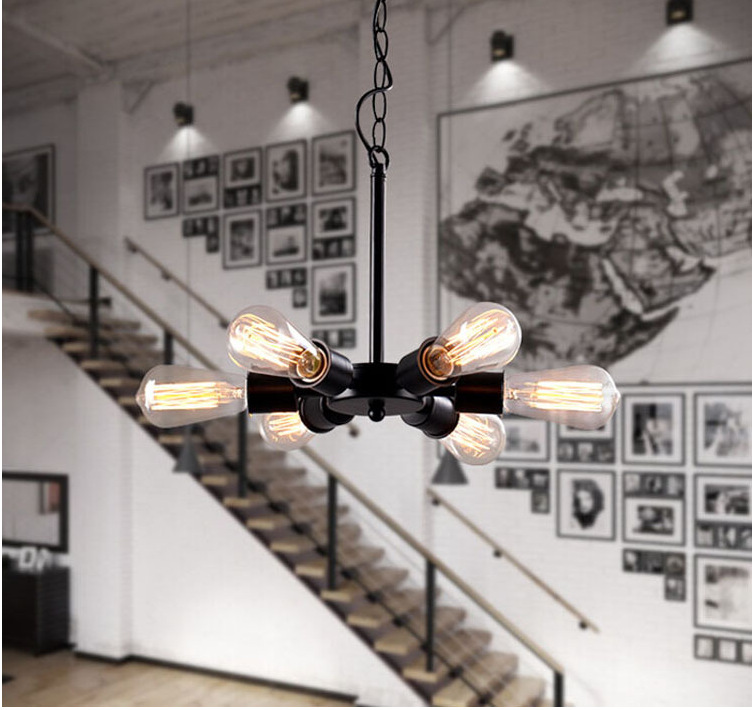 Loft Style 5 Lights E27 Edison Dining Pendant Lamp Wrought Iron Giant Wheel Light  Restaurant Decoration Light Free Shipping