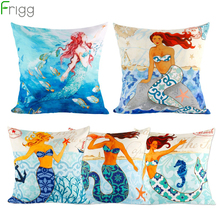 Frigg Mermaid Cushion Cover Pillow Decorative Cushion Covers Home Decor Soft Pillow Case For Bedroom Car Seat Throw Pillow Case цены