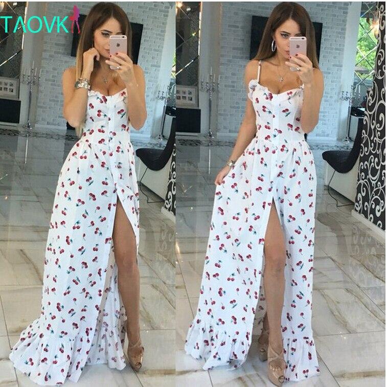 Ruso famoso TaoVK moda  mujeres del verano largo de la Cereza de impresión blanc