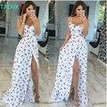 Russo famoso TaoVK moda 2016 mulheres verão longo Cereja impressão branco empire strapless andar de comprimento vestidos