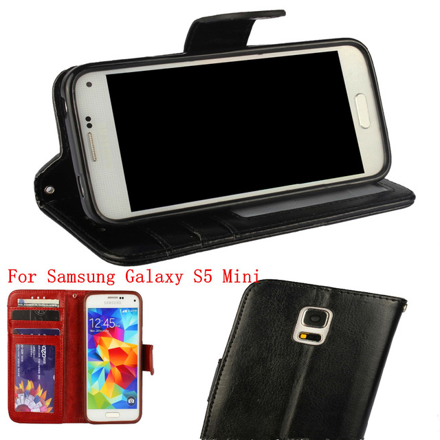 hot sale online a77cf 4b2f4 US $8.99 |Luxury Genuine Real Leather Case For Samsung Galaxy S5 Mini Book  Style Phone Back Cover Flip Stand Design With Card Slot-in Flip Cases from  ...