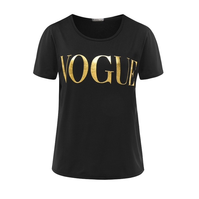 ZSIIBO D'été VOGUE Imprimer Or Brillant Lettre T-shirt Femmes Simple Casual Manches Courtes O-cou Tops Femme Vêtements KaTx08