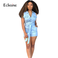Summer Casual Shorts Jeans Jumpsuit Women Buttons Sleeveless V Neck Denim Romper with Belt Pockets Overalls Plus Size Playsuits