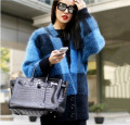 Europe and the United States New Plush mink cashmere cardigan sweater coat BianFuShan plaid coat thick fur knitting