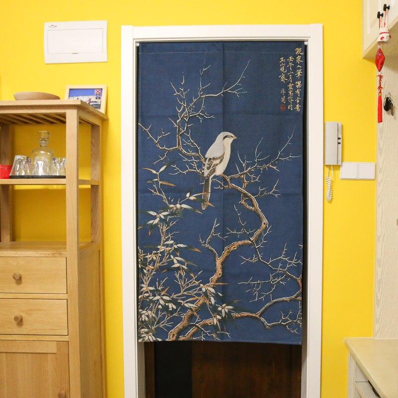 Giappone Uccelli e Fiori Stampe di Cotone Lino Tenda di Portello Noren Tapestry Wall Hanging Decor Cucina Tenda Divisorio 85x150 cm