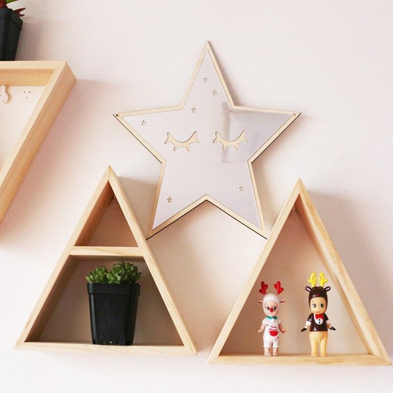 Us 175 25 Offproste Drewniane Naturalne Trigon Półka Do Przechowywania Dekoracyjne Dla Dzieci Pokój Wystrój Domu Salon Dekoracja ścienna Półka I