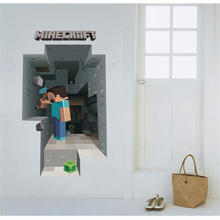 Vivid 3d Popular Game Minecraft Wall Stickers For Kids Room Decoration Diy Boy's Wall Mural Art Home Decals Pvc Posters цена и фото