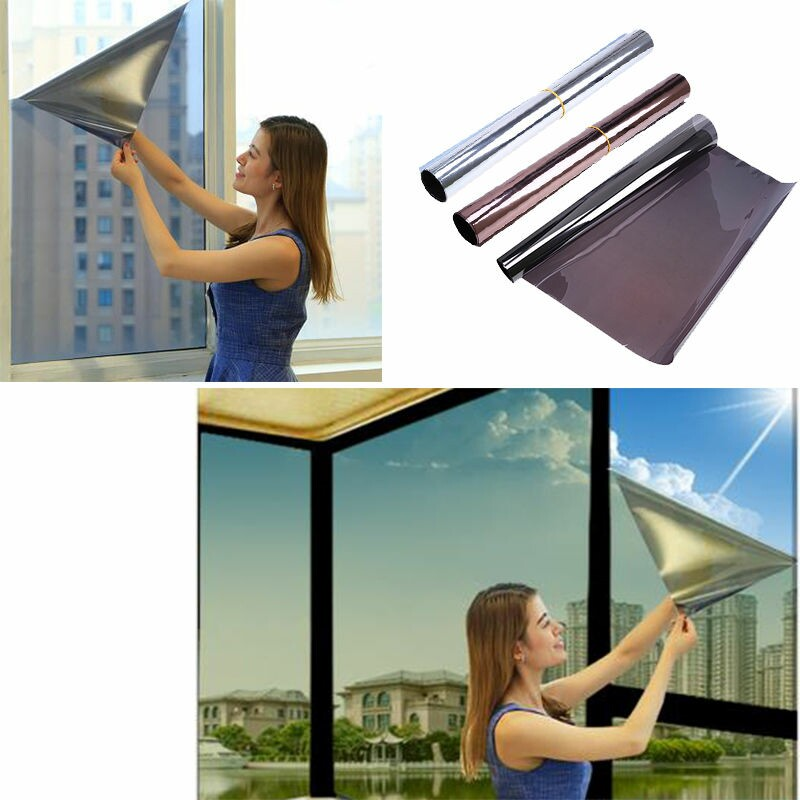 1/2/3 Meters Self Adhesive One Way Window Privacy Film Solar Reflective Heat Insulation Glass Wall Stickers Home Office Decor