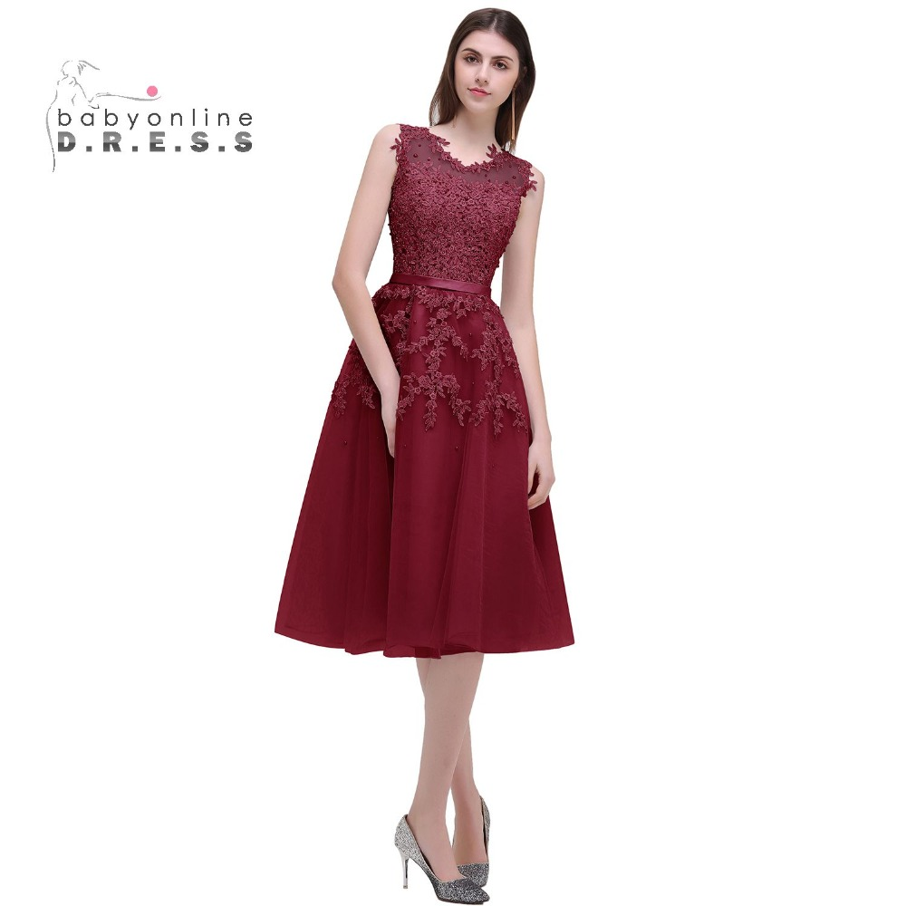 Robe De Soiree A Line Burgundy Short Prom Dresses 2017 ...