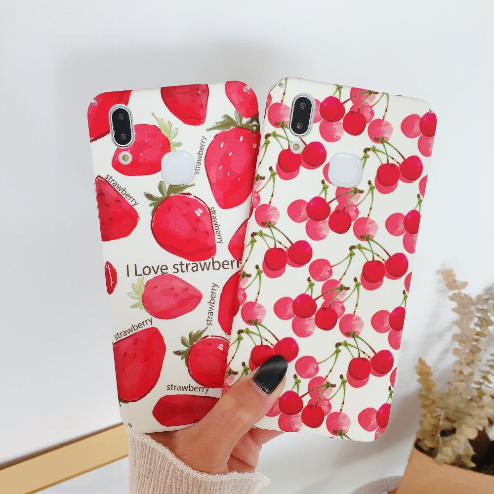 Fresh Pink Green Leaf Hard Case For Huawei Nova 3i 3 Honor 10 V10 Cute Strawberry Cherry Cover Case For Huawei P20 Pro P20 Lite