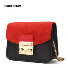 Купить с кэшбэком BISON DENIM Genuine Leather Women Handbags Luxury Shoulder Bags for Women 2018 Crossbody Bag Bolsa Feminina Bolsos Mujer N1240