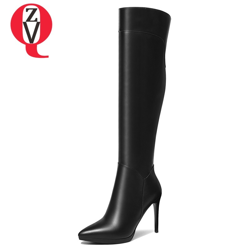 ZVQ shoes women 2018 winter new hot sale fashion sexy pointed toe super high thin heels platform genuine leather knee high boots все цены