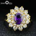 Fashion Jewelry Flower Accessories Cubic Zirconia Ring [JewelOra #RI101305]  Gold Plated Rings For Womens New 2014
