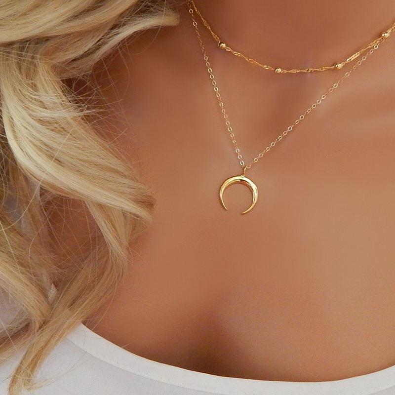 Colgante de luna creciente multicapa para mujer cadena de eslabones Gargantilla Collar regalo de joyer