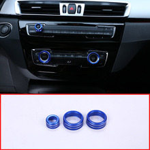 3Pcs For BMW 1 2 3 4 Series F30 F34 F46 GT X1 F47 F48 13-17 Car Styling Air Conditioning Knobs Audio Circle Trim Alloy Accessory