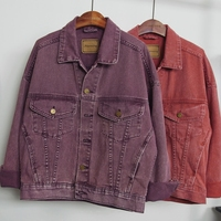 2018 New Fashion Short Demin Jackets Women Long Sleeve Korean Solid Casual Wide Waisted Jeans Coats Pink Purple