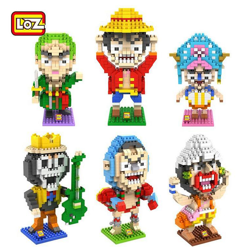 LOZ Diamond Blocks Anime One Piece Luffy Building Blocks Mini Bricks DIY Assemble Toys Present Gift