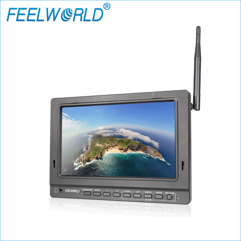Feelworld PVR758 7 inch FPV Monitor with DVR 5.8G 32CH Diversity Receiver 1024x600 IPS 7 Drone UAV LCD Monitor with HDMI Cable