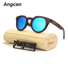 Angcen 2017 NEW Ms packages mailed 2016 bamboo, wood retro fashion polarized light green natural sunglasses by hand ZB05