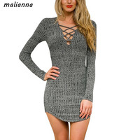 Malianna 2017 Women Spring Autumn Sexy Long Sleeve V Neck Knitted Dresses Lace Up Casual Bodycon